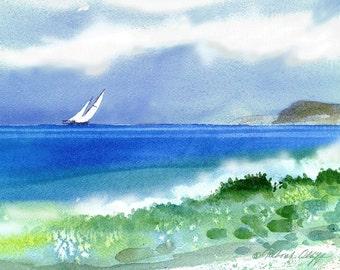 Shorebreak, Watercolor print,  Seascape, Sailboats, Waves, Beach, Sea, Blue