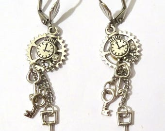 earrings steampunk gear with 3 Keys silver