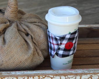 Flannel Cup Sleeve, Flannel and Lace Coffee Cup Cozy, Fabric Cup Sleeve, Flannel and Lace Reusable Cup Sleeve, Black/Red Plaid Flannel
