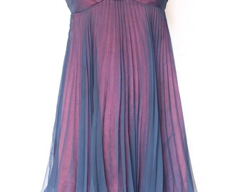 1960s pleated Mini Dress,navy,dark pink,pleated,rose,club,evening, mini dress