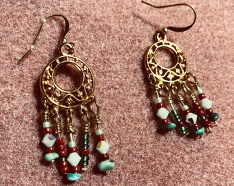 Fuschia and aqua chandelier earrings