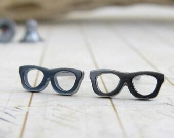 Tiny glasses stud earrings. Sterling silver or 14k gold posts. Nerd geek jewelry. Miniature eyeglasses.  Minimalist gift for her.