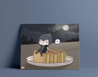 FFXV Food: Noctis Art Print (Physical Print) // Final Fantasy, Prompto, Ignis, Gladio, Gladiolus, chibi, japanese, cute, kawaii, sandwich