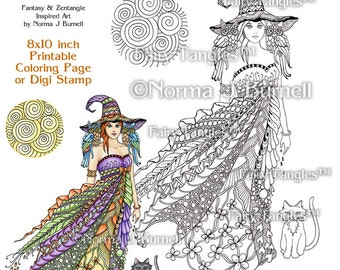 Windy Witch Fairy Tangles Printable Coloring Book Pages & Sheets by Norma J Burnell Halloween Witch, Coloring for Grownups Digital Coloring