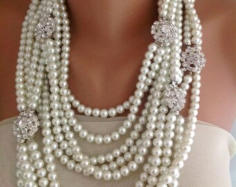 Statement Pearl Necklace, Bridal Jewelry Necklace, Chunky Layered bold Ivory Pearl Necklace with rhinestone brooches Statement Piece