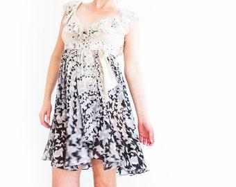 Butterfly Print Dress, Chiffon wrap dress, Vintage wedding dress, pastel ruffle wrap dress, Butterfly semi sheer chiffon dress