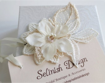 Ivory Wedding Headpiece, Champagne Flower Headpiece, Flower Fascinator, Bridal Flower Hair, Bridal Lace Hair Pin- code: HP156c