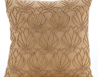 Gold Throw Pillows for Bed 20x20 Pillow Covers Taffeta Embroidered Throw Pillows Covers - Gold Jardin