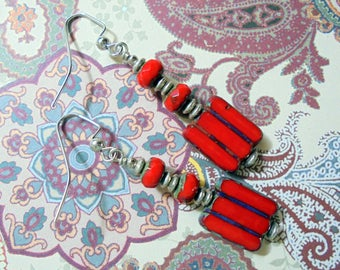 Red and Silver Striped Boho Earrings (3404)