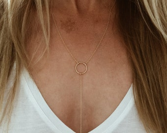 Karma Circle Y Lariat Necklace in 14/20 Gold Fill or Sterling Silver
