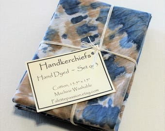 Hand Dyed Handkerchiefs - Mens Cotton Hankies - Set of 3 - Navy Blue Light Dark Denim Tan Beige White Tie Dye Handkerchief Pocket Square