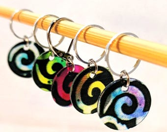 Translucent Spirals Stitchmarkers for Knitters or Crocheters - Choice of Markers Only or With Matching Small Container