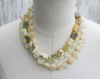 Yellow and Earth Tones Genuine Stone Triple Strand Beaded Layered Necklace