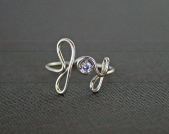 JOY Ring 925 Sterling Silver Word Art