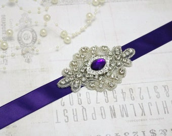 purple sash, Bridesmaid sash, bridesmaid belt, bridesmaid rhinestone belt, wedding belt, wedding sash, purple wedding belt, purple sash