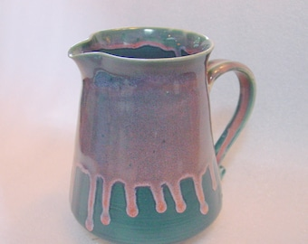 Wheel Thrown Pottery Pitcher in Teal and Pink