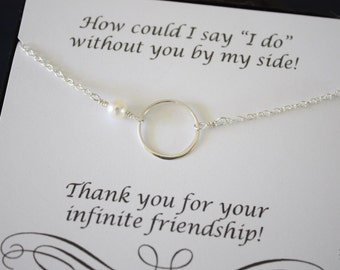2 Bridesmaid Necklace Karma, Bridesmaid Gift, Thank You Card, White Pearl, Sterling Silver Necklace Karma, Mother of the Bride, Infinity