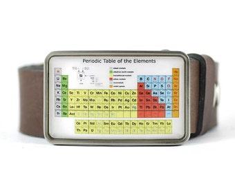 Periodic Table Belt Buckle, Chemistry Belt Buckle, Science Belt Buckle, Geek buckle