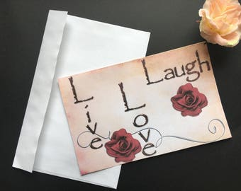 Live, Love, Laugh Greeting Card