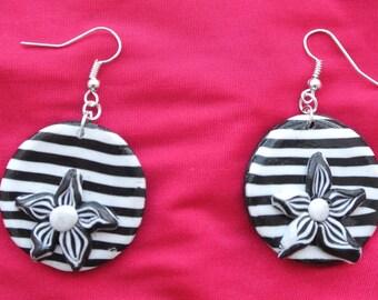 black and white stripes earrings