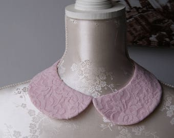 Lace collar necklace in pastel pink round shape detachable removeable accessories for women two-sided laced collar peter pan romantic classi