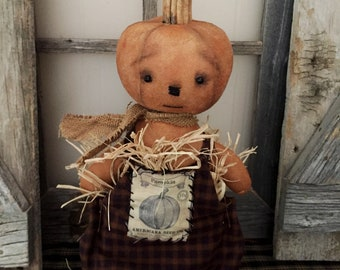 Primitive Pumpkin|Folk Art Pumpkin|Pumpkin Art Doll|Primitive Autumn|Primitive Fall|Handmade Fall|Jack O Lantern|Handmade Pumpkin Head Doll