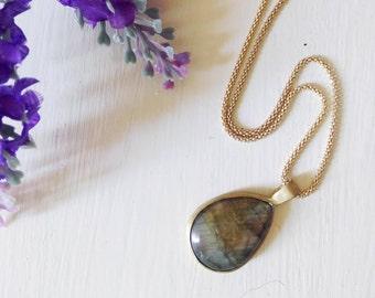Labradorite necklace, labradorite pendant, precious stone necklace