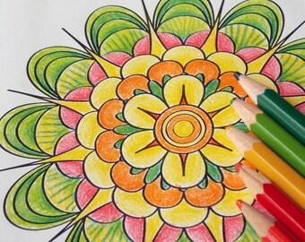 Flower Mandala Coloring page Printable adult