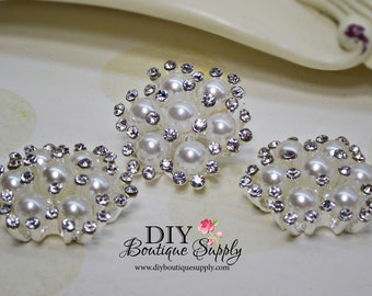 Rhinestone Pearl Button Embellishment Pearl Rhinestone Flatback Bridal Wedding accessories Headband Supplies Flower Centers 26mm 649070