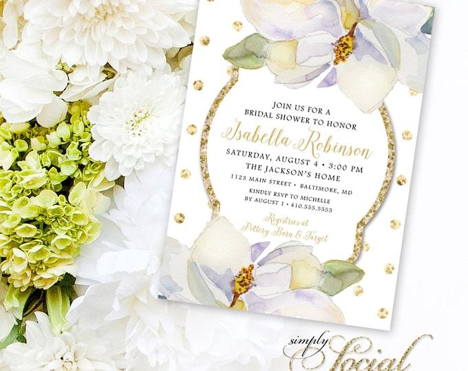 Magnolia Bridal Shower Invitation - White Flowers and Gold Glitter Polka Dots Printable
