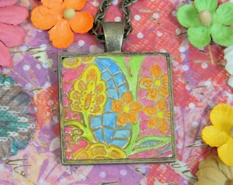 Retro Hippie Flowers Pendant Necklace Polymer Clay Jewelry, Pink Orange Yellow Blue Green Floral Necklace