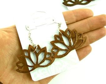 Lotus Flower Lightweight Wood Earrings/Yoga/Meditate/Spiritual