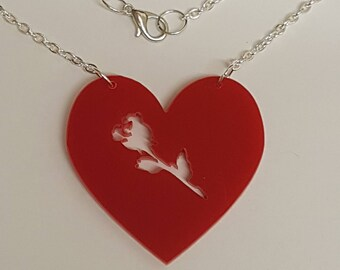 Heart Rose necklace - Acrylic