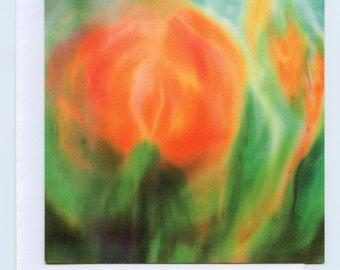 Waldorf watercolour art card, Orange flower with Fire spirits, birthday card, anniversary card, blank card, thank you card,