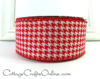 """Christmas Wired Ribbon, 2 1/2"""",  Red and White Houndstooth - THREE YARDS -  Offray  """"Allhounds Red"""" Check Craft Wire Edged Ribbon"""