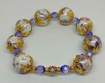 Golden Purple Porcelain Flowers Stretch Bracelet
