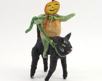 Vintage Inspired Spun Cotton Pumpkin Boy Riding Black Cat Figure (MADE TO ORDER)