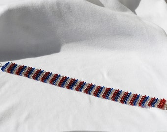 "Choker  13""  Necklace  Red White Blue    Glass Beads  Handmade"