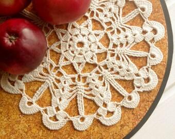 Small ivory crochet doily Hand crocheted cotton lace doilies Cream crochet doilies Doily lace crochet 330