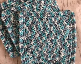 Wash Cloths Cotton Dish Cloths Baby Cloths Crochet Wash Cloth Aqua and Faded Denim Blue Set of 3 Made to Order