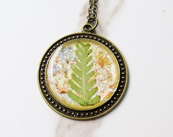 Fern necklace, botanical pendant, real fern necklace, woodland necklace, real fern pendant, nature lovers necklace