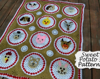 Farm Animal Blanket - Crochet Pattern