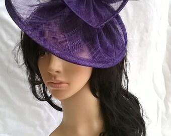 Purple Violet Fascinator ..Sinamay and  feather Fascinator...Gemma