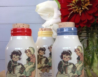 Milk bottle decor, 1950's children's book, Raggedy Ann Milk Bottle, Beekeeper Milk Bottle, Ceramic Honey Bottle, Ceramic Cork Jar