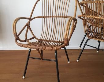Mid century 60s bamboo basket rattan chair