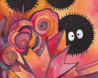 Soot Sprites - Makkuro kurosuke Original Watercolor by Megan Noel