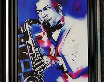 John Coltrane, Morgane Monnet print on plexiglass table