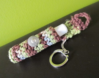Crochet Keychain Lip Balm Holder - Sour Green Apple