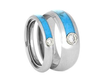 Turquoise Wedding Band Set, Matching Moissanite Rings, His And Hers Titanium Wedding Ring Set