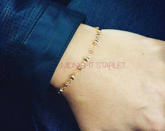 Warm Gold Nugget Bracelet. Electroplated Gold. Gold Toned Lobster Clasp. Will Arrive in Gift Box with Ribbon. FREE Domestic Shipping.